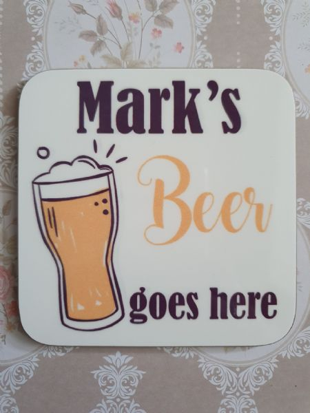 Beer Goes Here Name Coaster